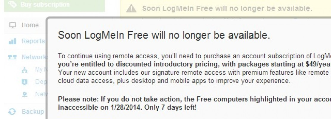 Το LogMeIn πλέον μόνο με συνδρομή!