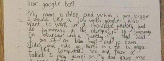 7χρονη έστειλε γράμμα στην Google για να πιάσει δουλειά -Η απίστευτη απάντηση του CEO της εταιρείας